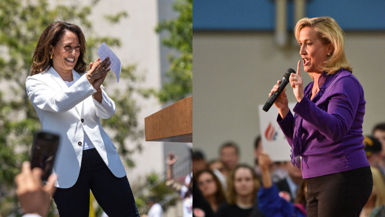 Kamala Harris at a Los Angeles rally, 2018 (l.) and Ann Wagner stumping for Ted Cruz in Missouri, 2016 (r.)